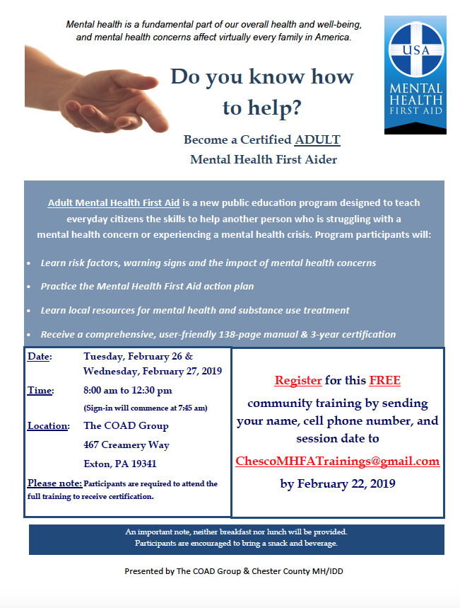 Holcomb - Two-Day Adult Mental Health First Aid Training