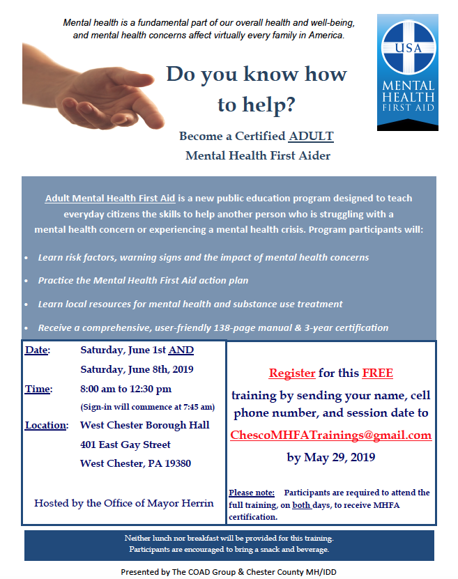 ad5367863b7cc Two-Day Adult Mental Health First Aid Training-West Chester